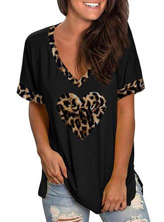 luipaard Hart V-hals Korte Mouwen Casual T-shirts