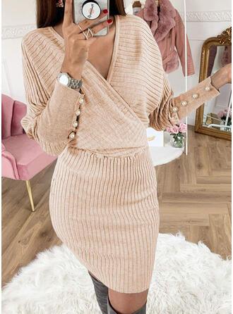 Solide Met Kralen V-hals Casual Lang Slanke Sweaterjurk