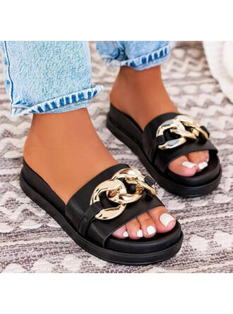 Vrouwen PU Flat Heel Sandalen Flats Plateau Peep Toe Slippers met Kralen Keten Hol-out schoenen