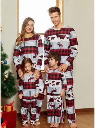 Rendier Plaid Print Voor Gezinnen Kerst Pyjamas