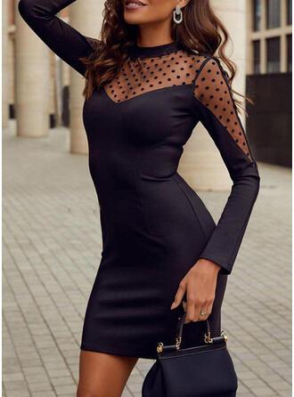 Nop Lange Mouwen Bodycon Boven de knie Zwart jurkje/Feest/Elegant Jurken