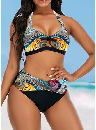 Kleurrijk Hoge Taille Print Keyhole Halter Het oog Springende retro Bikini's Badpakken