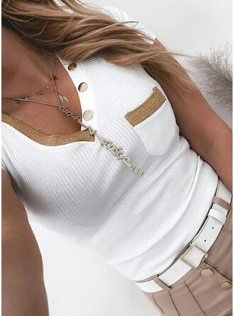 Solide V-hals Korte Mouwen Dichtknopen Casual Breiwerk Overhemd