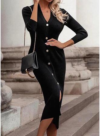 Solide Lange Mouwen Bodycon Trui Zwart jurkje/Casual Medium Jurken