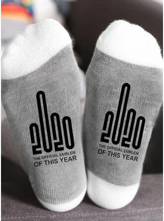 Letter/Print Ademend/Kerstmis/Crew sokken/2020/Unisex Sokken