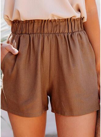 Zakken Shirred Casual Solide Shorts