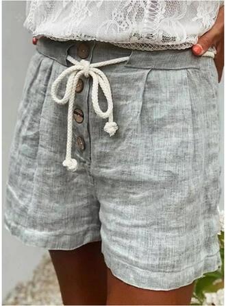 Solide Grote maat Trekkoord Casual Gewoon Shorts