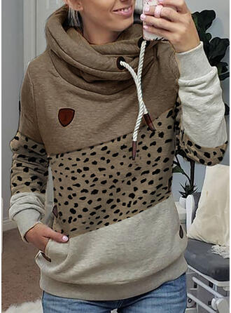 Color Block luipaard Lange Mouwen Hoodie