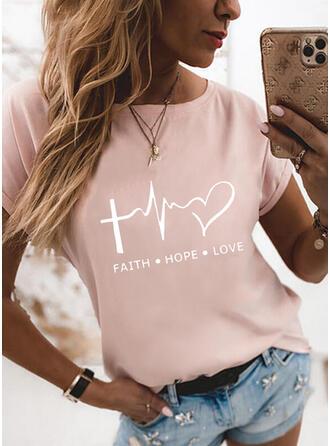 Figuur Hart Print Ronde Hals Korte Mouwen T-shirts