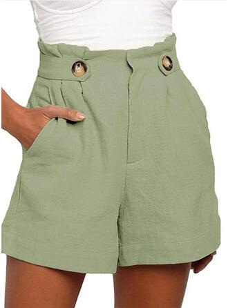 Zakken Shirred Grote maat Boven de knie Boho Casual Solide Shorts