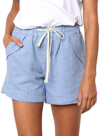 Solide Trekkoord Boven de knie Casual Solide Shorts
