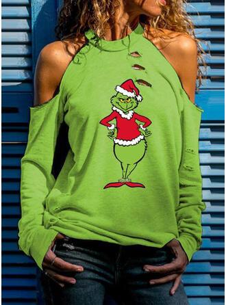 Print Cold Shoulder Lange Mouwen Casual Kerstmis Overhemd