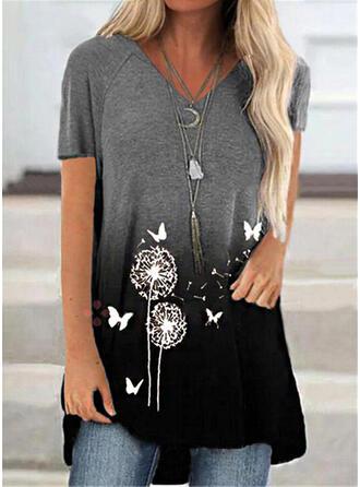 Dier Afdrukken Paardebloem Verloop V-hals Korte Mouwen T-shirts