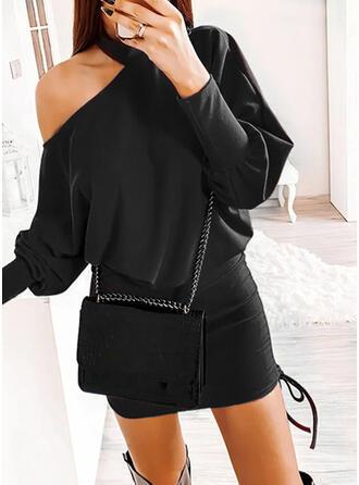 Solide Lange Mouwen Bodycon Boven de knie Zwart jurkje/Casual Jurken