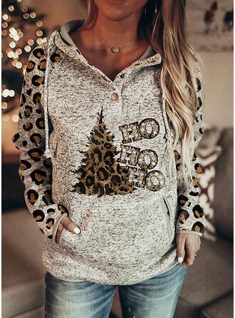 Print luipaard pailletten Figuur Lange Mouwen Kerst Sweatshirt