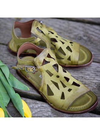 Vrouwen PU Flat Heel Sandalen Flats Peep Toe Slippers met Gesp Hol-out schoenen