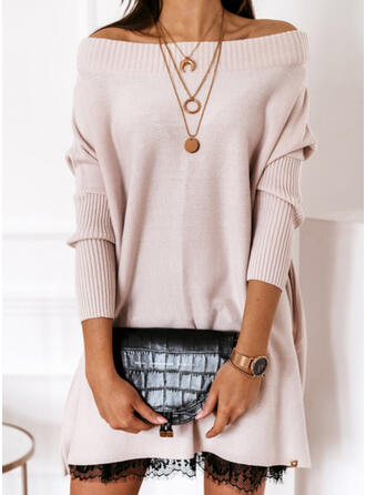 Solide Kant Off the Shoulder Casual Lang Sweaterjurk