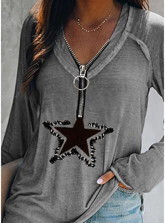 Print Pailletten V-hals Lange Mouwen Casual Overhemd