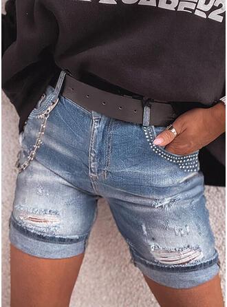 Zakken Grote maat Gescheurd Casual Tribal Shorts Spijkerbroek