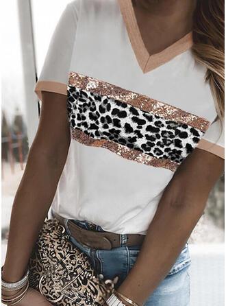 luipaard Print V-hals Korte Mouwen T-shirts