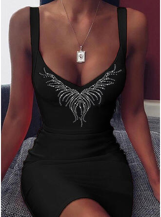 Print/Pailletten Mouwloos Bodycon Boven de knie Zwart jurkje/Sexy/Casual Jurken