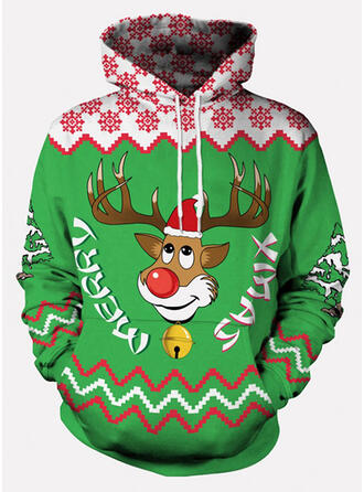 Uniseks katoenblends Rendier Letter Kerst Sweatshirt