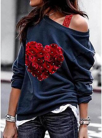 Print Bloemen pailletten One Shoulder Lange Mouwen Sweatshirts
