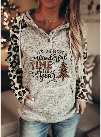 Print luipaard Figuur Lange Mouwen Kerst Sweatshirt