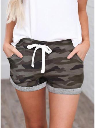 Shirred Camouflage Mini Casual sportieve Shorts