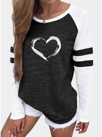 Color Block Hart Print Ronde Hals Lange Mouwen T-shirts