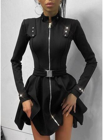 Solide Lange Mouwen A-lijn Boven de knie Zwart jurkje/Elegant Schaatser Jurken