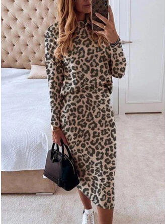luipaard Lange Mouwen Bodycon Elegant Medium Jurken