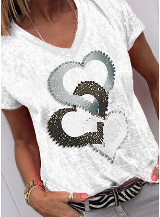 Print Hart V-hals Korte Mouwen Casual T-shirts