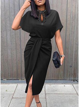 Solide/Met Kralen Korte Mouwen Koker Knielengte Zwart jurkje/Elegant Jurken