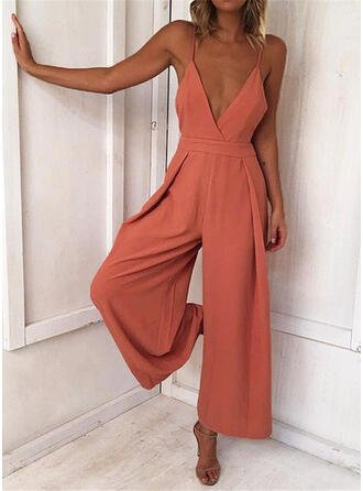 Solide Spaghetti-bandjes Mouwloos Casual Vakantie Sexy Jumpsuit