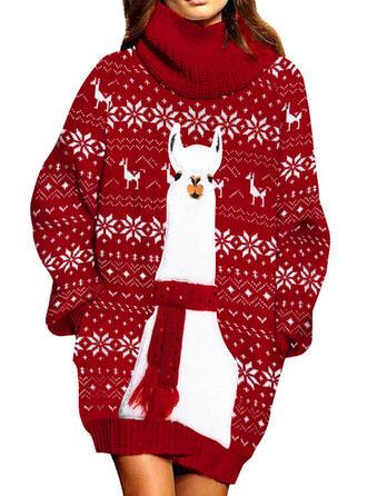 Dierenprint Coltrui Casual Lang Kerstmis Sweaterjurk