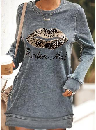Print/luipaard/Met Kralen Lange Mouwen Shift Boven de knie Casual Sweatshirts Jurken
