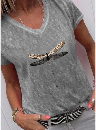 Dier Afdrukken pailletten V-hals Korte Mouwen T-shirts