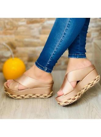 Vrouwen PU Flat Heel Sandalen Plateau Wedges Peep Toe Slippers Hakken met Hol-out schoenen