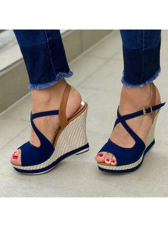 Vrouwen PU Wedge Heel Sandalen Plateau Wedges Peep Toe met Gesp Hol-out schoenen