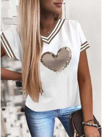 Hart Print pailletten Streep V-hals Korte Mouwen T-shirts