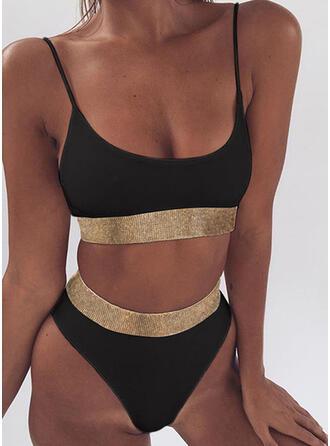 Splice kleur pailletten Riem U-hals Sexy Bikini's Badpakken