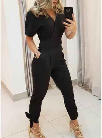 Solide V-hals Korte Mouwen Casual Elegant Jumpsuit