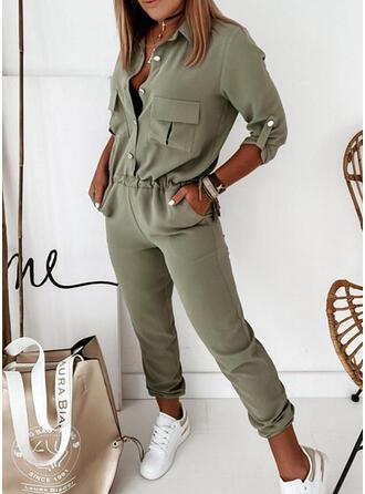Solide Kraag 3/4 Mouwen Casual Elegant Jumpsuit