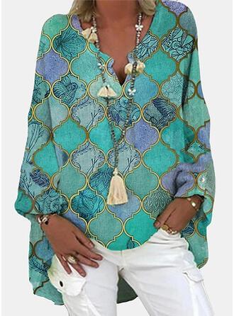 Dierenprint V-hals Lange Mouwen Casual Overhemd