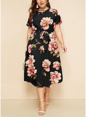 Grote maten Bloemen Print Korte Mouwen A-lijn-jurk Medium Casual Elegant Jurk