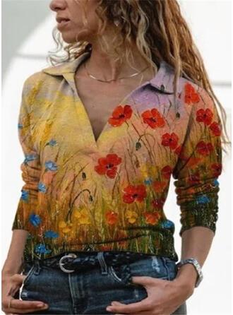 Print Bloemen V-hals Lange Mouwen Casual Overhemd