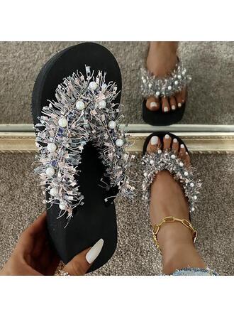 Vrouwen PU Flat Heel Sandalen Flats Peep Toe Flip Flops Slippers met Hol-out Tassel schoenen