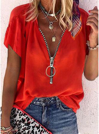 Solide V-hals Korte Mouwen Casual Overhemd