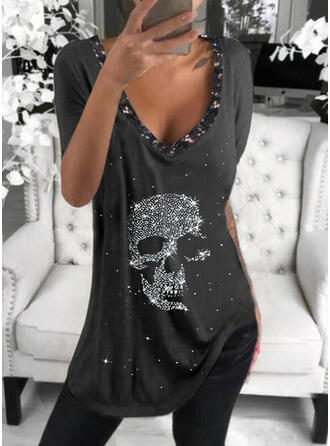 Print pailletten V-hals Korte Mouwen T-shirts